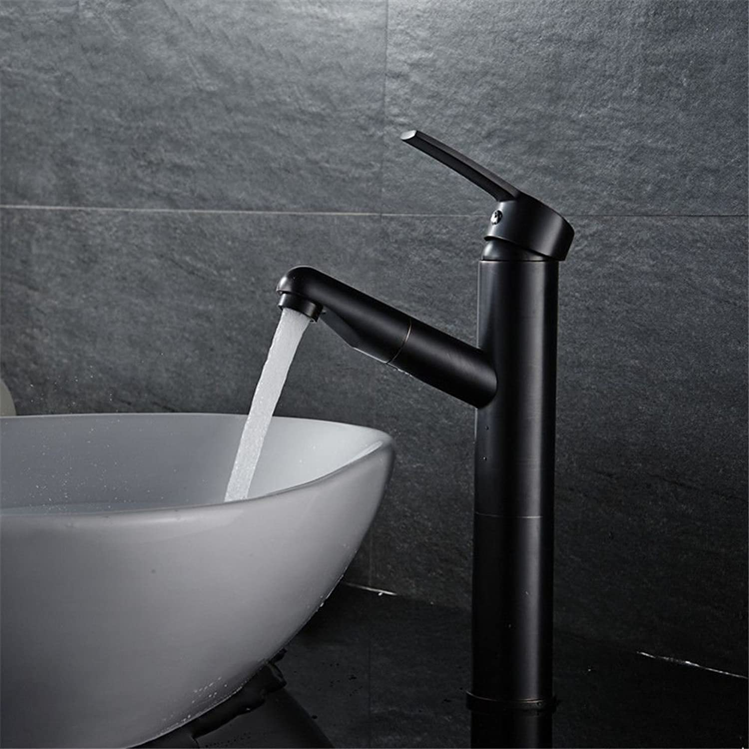 AQMMi Basin Sink Mixer Tap for Lavatory Brass Pull-Out Black Oil Rubbed Bronze Hot and Cold Water Extendable Single Lever Bathroom Vanity Sink Faucet