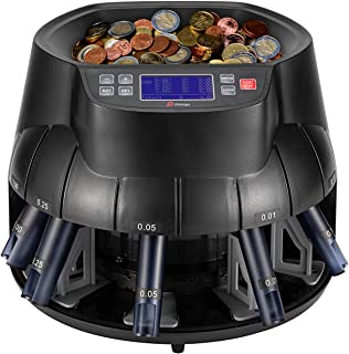 Pittaigo USD Coin Counter Sorter and Roller, Professional Electronic Coin Counting Machine Change Counter Wrapper with LCD Display, 315-345 Coins/Min, Countable coins 1�, 5�, 10�, 25� and Dollar Coins