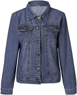 Women's Trucker Jacket Dark Blue Warm Denim Jacket Casual Loose Button Down Jean Jacket Vintage Retro Classic Trucker Jacket