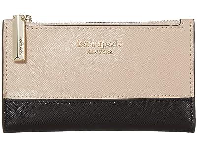 Kate Spade New York Spencer Small Slim Bifold Wallet (Warm Beige/Black) Wallet