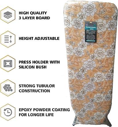 "ADA Heavy Duty Folding Ironing Board Table 18"" X 48"" Double Foam Iron Table Board Cover & Pad, Poppy Design (Colour May Vary)"