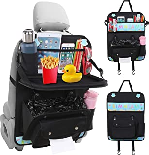 Car Back Seat Organizer PU Leather with Foldable Table Tray Car Organizer with Tissue Box/Cup/Perfect Travel Accessories f...