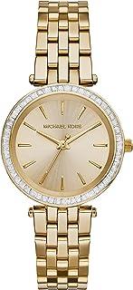 مايكل كورس ميني دارسي ساعة بمينا لون ذهبي و سوار من الستانلس ستيل للنساء - MK3365
