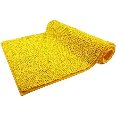 WohnDirect Alfombrilla de baño Amarillo • Puede combinarse en un Conjunto • Antideslizante y Lavable • Cómoda Y Súper Absorbente – 50x80cm