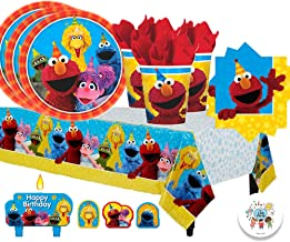 Another Dream Sesame Street Birthday Party Pack for 16 with Plates, Napkins, Cups, Tablecover, and Candles with Exclusive Party Pin