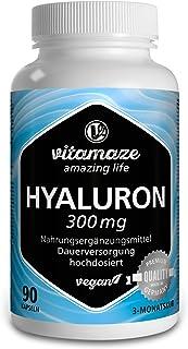 Vitamaze® Ácido Hialurónico Puro Capsulas. 300 mg Alto Concentrado por Capsula Vegano para 3 Meses. alta Biodisponibilidad. Tamaño Molecular