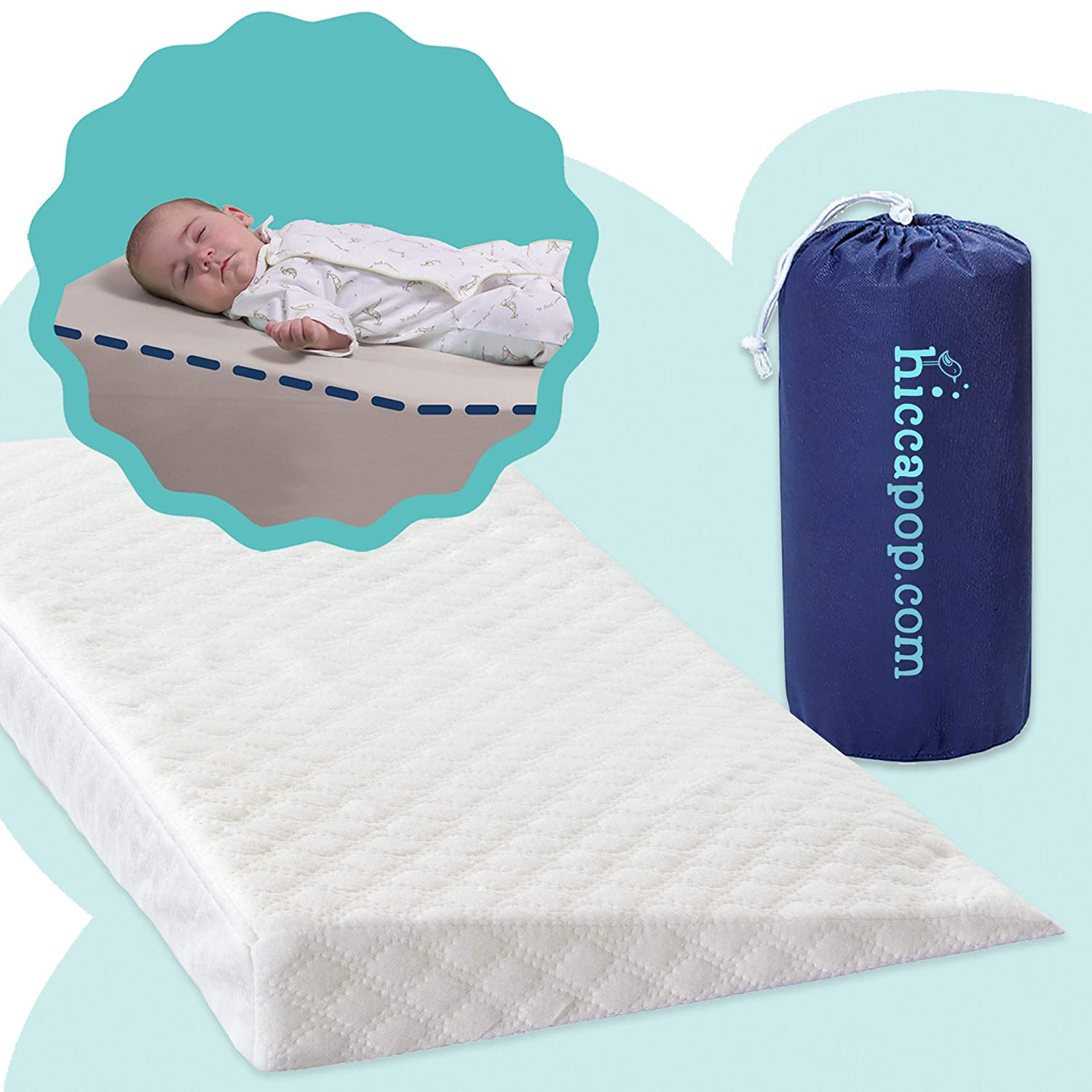 Hiccapop Crib Wedge with Deluxe Soft Plush Cover