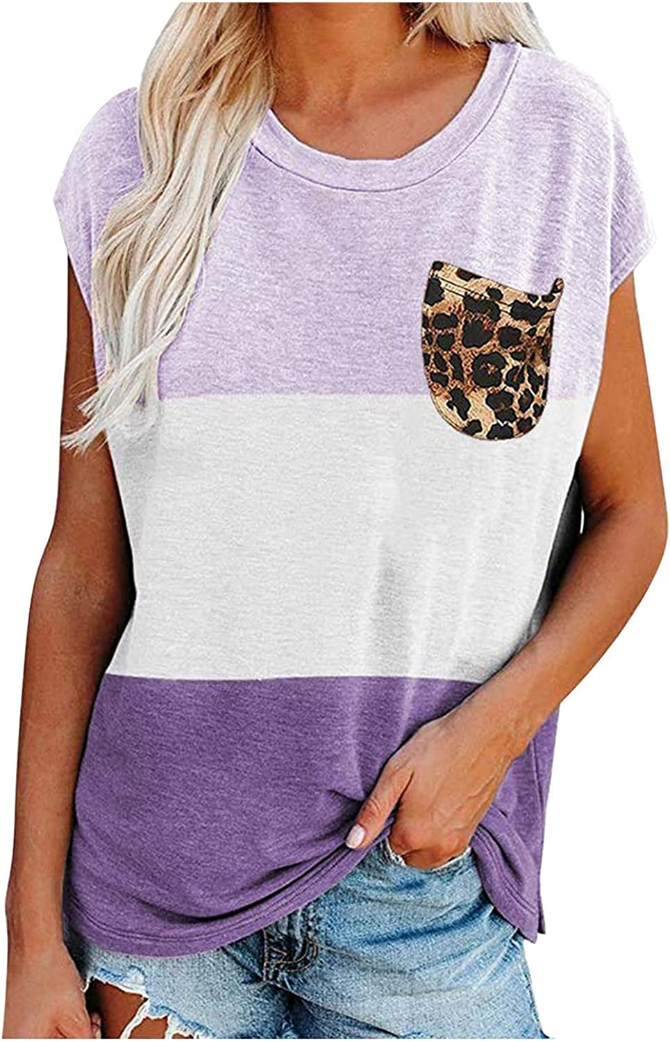 xoxing Summer Tops for Women Casual Plus Size Splicing Collision Leopard Pocket Round Neck Loose Tunics T-Shirt Blouse