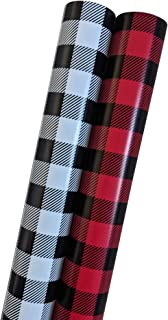 Christmas Wrapping Paper Set - Buffalo Plaid in Black/White and Black/Red- 200 Sq Feet ((Bundle of 2 Jumbo Rolls, 100 Sq Feet Each) of Rustic Vintage Holiday Gift Wrap with Grid Lines for Easy Cutting