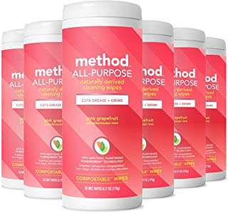 Method All-Purpose Cleaning Wipes, Pink Grapefruit, 6 Count