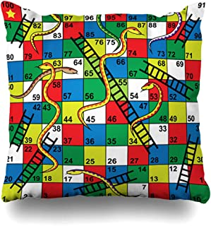 DIYCow Throw Pillow Covers Ladder Kid Snakes Ladders Board Abstract Puzzle Backward Number Forward Step Winner Home Decor Pillowcase Square Size 20 x 20 Inches Zippered Cushion Case