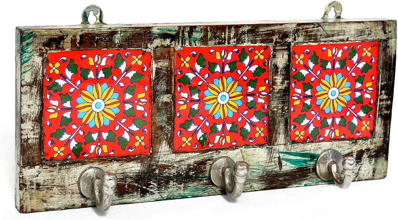Jaipurhandicraftsgallery Handcrafted Handmade Ceramic Tile and Wood Wall Decor Wall Hanging Hook Hanger