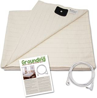 Grounding Brand Half Sheet with Earth Connection Cord - Silver Antimicrobial Conductive Mat for Better Sleep, EMF Protection and Healthy Energy, Large 98x35.5 fits Full, Queen, King, Tan