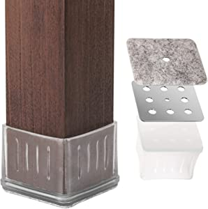 """Metal Chair Leg Caps Chair Leg Protectors Cover Protectors for Hardwood Floor Square Furniture Rubber Feet for 1 1/4 to 1 3/8"""" Legs with Metal Piece & Felt Pads Clear (16 Pack)"""