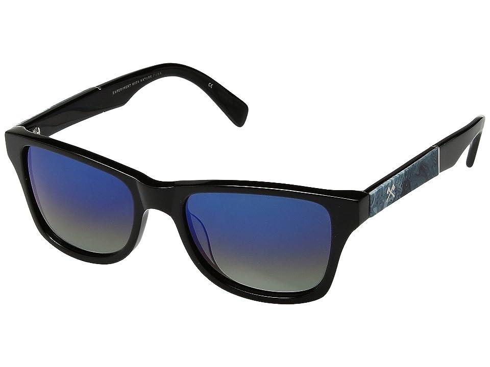 Shwood Canby (Black/Shaper Studio Midnight Surf Resin/Blue Flash Polarized) Sport Sunglasses