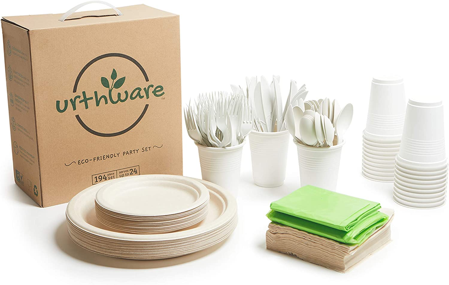 Urthware Compostable Plates Set. Friendly 194PC Dedication Eco Year-end annual account Dispo