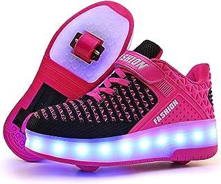 bec2712c358 Unisex Recargable Led Luz Automática de Skate Zapatillas con Ruedas Zapatos  Patines Deportes