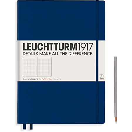 LEUCHTTURM1917 - Master Classic A4+ - Dotted Hardcover Notebook (Navy) - 235 Numbered Pages