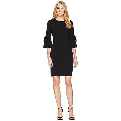 Donna Morgan 3/4 Bell Sleeve Crepe Shift Dress w/ Bow Detail at Wrist (Black) Women