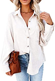 Women Corduroy Long Sleeve Button Down Collared Shirt...