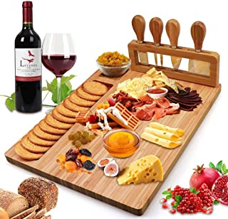 Bamboo Cheese Board Set, Cheese Tray, Charcuterie Board and Serving Meat Platter with 4 Stainless Steel Cheese Knives, Ide...