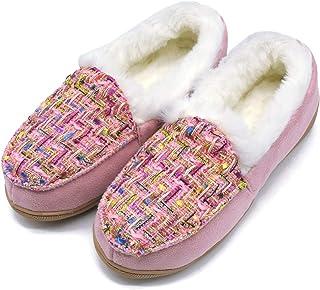 ONCAI Memory Foam Zapatillas De Casa para Mujer Felpa Pantuflas Mocasines Calentar Invierno Tweed Zapatos para Interior Ex...