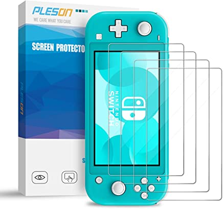 (4 Pack) PLESON Tempered Glass Screen Protector for Nintendo Switch Lite 2019, [ Lifetime Replacement ] 2.5D/0.26mm/Bubble Free/Anti Scratch/HD Clear, Glass Film Screen Protector for Switch Lite