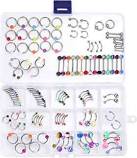 Body Piercing Jewelry Set 14G 16G Belly Ring Tongue Nose Tragus Lip Eyebrow Steel