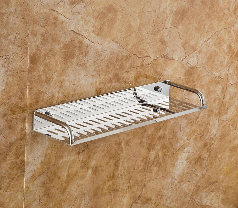 Stainless Steel Bathroom Shelf Wall Hanging Corner Double Layer Rectangular Frame Storage Shelves (color   50  11.7  38.5CM)