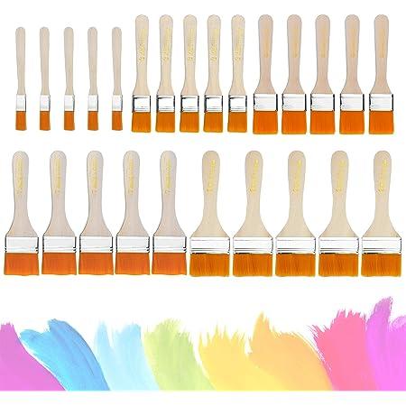 KARAA 50Piezas Juego de brochas planas de Pintura de Cepillos de Barniz Set Brochas de Pintor pinceles acrílicos para pintura al óleo, Pintura, ...