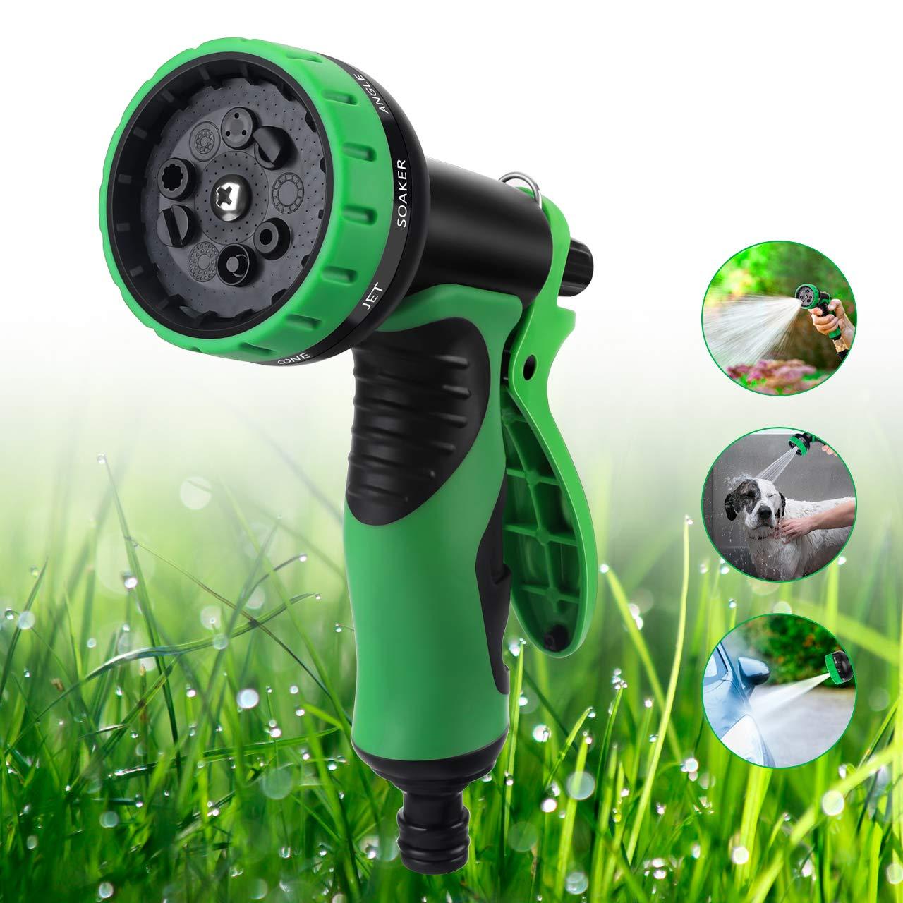 OOWOLF Pistola de Riego, 9 Modos de Ajustable Pulverización Boquilla para Manguera Pistola de Agua de Jardín para Riego de Plantas, Lavado de Coches, Baño de Mascotas, Limpieza de Acera: Amazon.es: Jardín