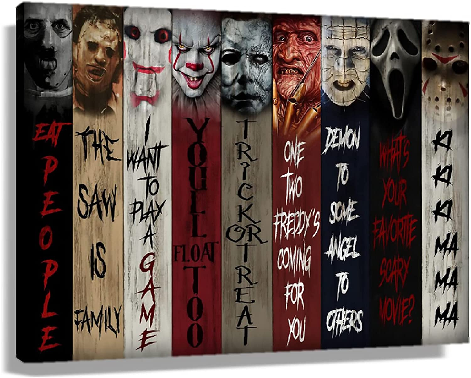 Horror Movie Poster Decor Pennywise Hannibal Lecter Villains Characters Terror Poster Canvas Wall Art Painting Picture Prints for Bedroom,Halloween Gifts Unframed 12x18 inch(30x45cm)