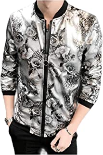 Mogogo Men's Zipper Silm Fit Floral Print Costume Sunscreen Evening Club Jacket