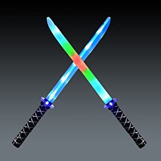 JOYIN 2 Deluxe Ninja LED Light Up Swords with Motion Activated Clanging Sounds ñ Bright Blue and Multi Color Sword for Hal...