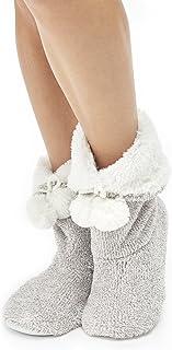 Cozy Fleece Women's Super Plush House Booties, Medium, Grey