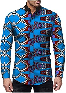 Howely Men's Long Sleeve African Stripe Premium Select Casual Shirts