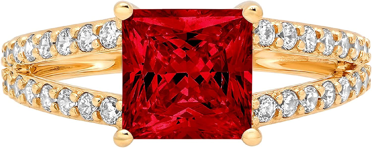 2.42 ct Princess Cut Solitaire Accent split shank Genuine Flawless Natural Red Garnet Gemstone Engagement Promise Statement Anniversary Bridal Wedding Ring Solid 18K Yellow Gold