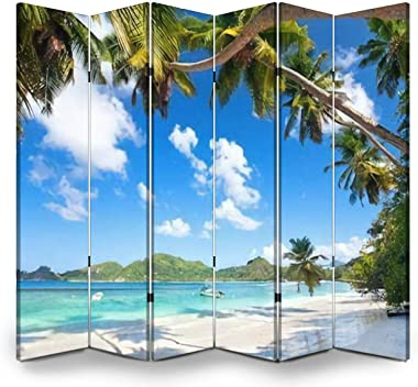 APED DECOR Wood Screen Room Divider ANSE Takamaka Beach in Mahe Island Seychelles Folding Screen Canvas Privacy Partition Pan