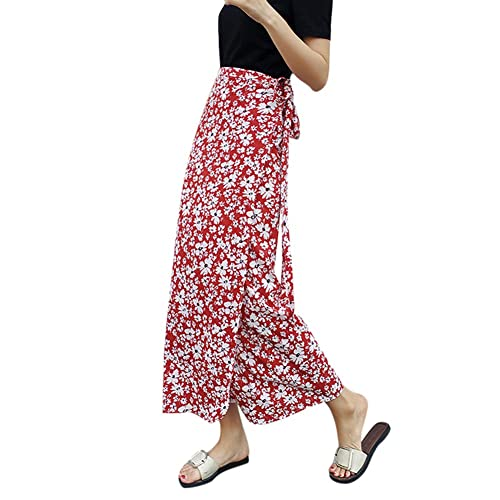 9b37a994be EFINNY Womens Boho Floral Tie up Waist Summer Beach Wrap Cover up Maxi Skirt