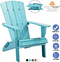 PolyTEAK Modern Folding Poly Adirondack Chair, Turquoise Blue | Adult-Size, Weather Resistant, Made from Special Formulate...