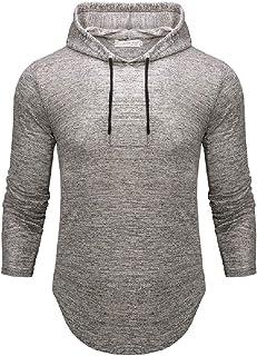 CRYYU Mens Pullover Slim Solid Color Hip Hop Curved Hem Hoodie Sweatshirt
