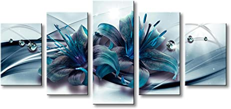 Huge Turquoise Blue Lily Flower Canvas Wall Art Extra Large Modern Teal Artwork Floral Print Painting