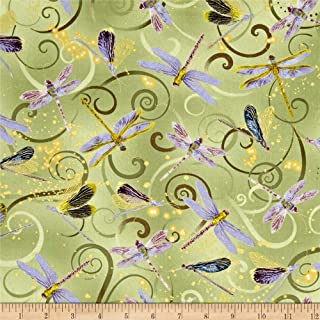 Benartex Kanvas Metallic Dancing Dragonflies Celedon Fabric by The Yard
