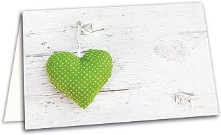 50 blanc cartons pour plan de table avec motif cœur vert 8,5 x 5,5 cm, badges les réservations pour les mariages, annivers...