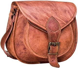 Urban Leather Saddle Bag Purse for Women and Girls, Leather Satchel Crossbody Purse and Handbag, Cosmetic Bag, Small Wallet Bicycle Bag, Woman Shopping Travel Bag, Gift for Teen Girl, Small 10 inch