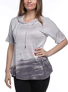 Cable & Gauge Women's Short Sleeve Drop Shoulder Sleeve Tie-Dye Hoodie
