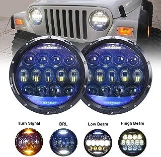 130W Exclusive Blue Projector Lens Brightest 7 inch LED Headlights Amber Turn Signal/DRL Bulbs Kit for Jeep Wrangler JK LJ JKU TJ CJ Sahara Rubicon Freedom Dragon Edition Unlimited Headlamps