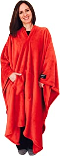 throwbee Original Blanket-Poncho RED (Yay! NO Sleeves) Best Wearable Blanket on The Planet Soft Throw Indoors or Outdoors - Adults Men Women Kids