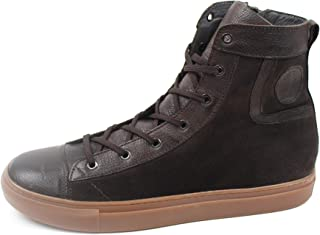 Men's Big Numbers Sport Boot Lace-up with Side Zipper, in Dark Brown Leather with Suede in Color, Leather Lining, Rubber B...