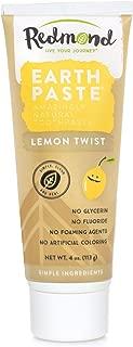 Redmond Earthpaste - Natural Non-Flouride Toothpaste, LemonTwist, 4 Ounce Tube (2 Pack)
